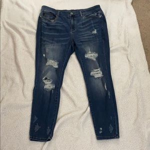 Judy Blue Skinny Fit Dark Denim Distressed Jean